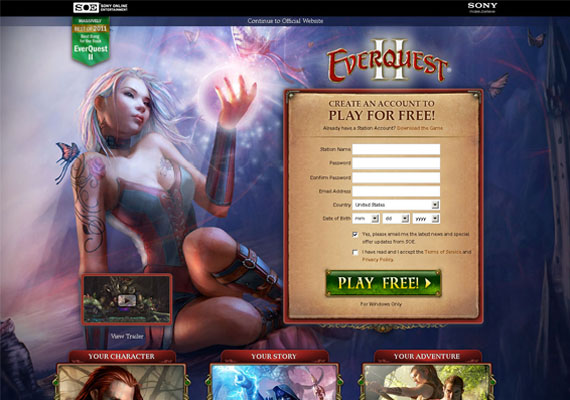 This is a squeeze page design for the game EverQuest 2 (www.everquest2.com). Using A/B testing, we tracked a 15% increase in visitor registrations.