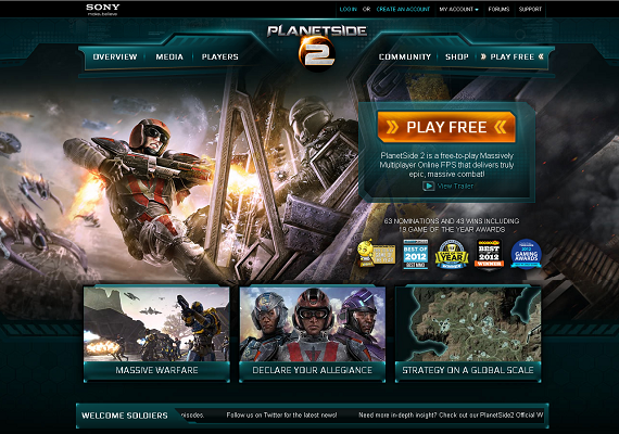 I created the information architecture and wireframe layouts for the website PlanetSide 2 (<a href='http://www.planetside2.com' target='_new'>www.planetside2.com</a>), an MMO first-person shooter (FPS) by Sony.At the time of launch, the site received 1 million visits per month and was one of Sony Online Entertainment's best-performing sites.